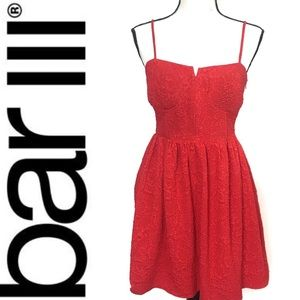 Bar III red spaghetti strap embroidered dress med